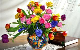 цветы, букеты,  композиции, тюльпаны, фрезии, розы, гиацинты