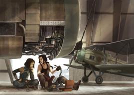 рисованное, люди, девушки, фон, самолет