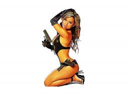 рисованное, люди, пистолет, фон, девушка, улыбка, взгляд