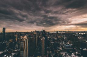 города, нью-йорк , сша, 1wtc, соединенные, штаты, сумерки, горизонт, облака, owtc, one, world, trade, center, манхэттен, нью-йорк