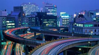 города, токио , Япония, огни, дороги, здания, поток, развязки, дома, город