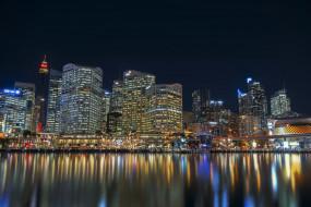 darling harbour sydney, города, сидней , австралия, огни, ночь