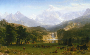 рисованное, живопись, пик, лендера, альберт, бирштадт, скалистые, горы, пейзаж, картина