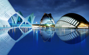 города, валенсия , испании, здания, бассейн, огни, вечер, valencia
