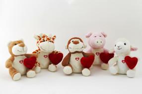 праздничные, мягкие игрушки, сердечки, зверята, игрушки