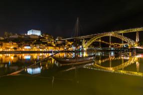 река, мост, огни