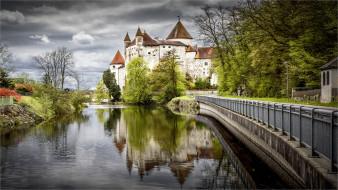 schloss an der aist  schwertberg  upper- austria, города, замки австрии, замок, пруд, парк