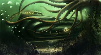 схватка, кальмар, лодка, мир, подводный