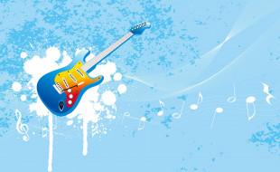 музыка, инструмент, гитара, краска, ноты