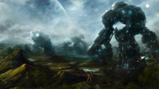 иной, мир, роботы, девушка