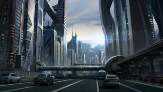 мир, иной, автомобили, город, сооружения