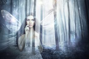 крылья, лес, девушка, фон, взгляд