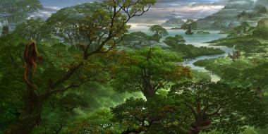 горы, море, деревья, река, панорама, лес