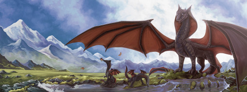 дракон, фон, гора