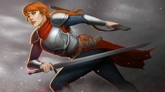 девушка, фон, взгляд, латы, меч