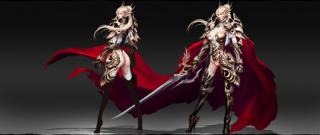 фэнтези, эльфы, фон, униформа, взгляд, меч, девушка