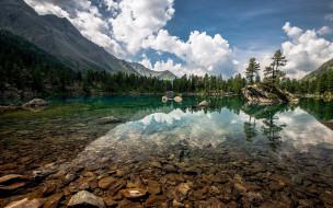 природа, реки, озера, небо, облака, горы, деревья, озеро