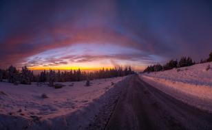 закат, Зима, дорога, деревья, лес