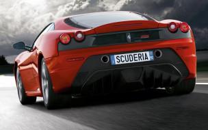 тучи, трасса, красная, скорость, Феррари, Scuderia, дорога, шоссе
