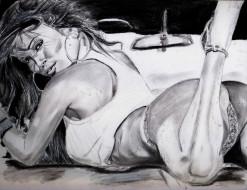 Jessica Buricaga обои для рабочего стола 2204x1700 jessica buricaga, рисованное, люди, взгляд, фон, девушка, скетч