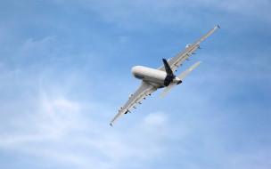 небо, A380, Airbus, самолет, полет