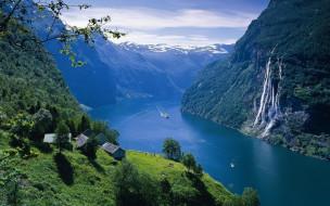 дома, водопад, канал, лес, горы