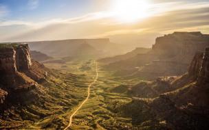 рассвет, скалы, долина, камни, солнце, небо, дорога