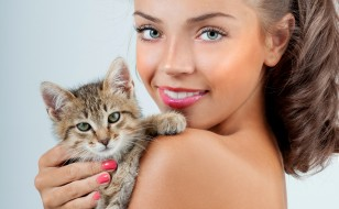 шатенка, котёнок, крупный план, кошка, улыбка, фон, макияж, прическа, девушка
