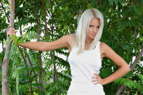 девушка, блондинка, взгляд, модель, лето, katerina h, природа