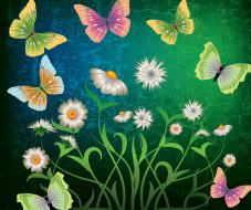 векторная графика, животные , animals, цветы, бабочки