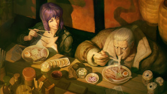 Major, art, Batou, аниме, Ghost in the Shell, Motoko Kusanagi