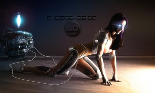 фэнтези, роботы,  киборги,  механизмы, девушка, фон, провода