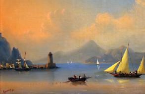 лодка, маяк, штиль, живопись, парусник, Айвазовский Иван, картина painting, море - sea, горы, Италия