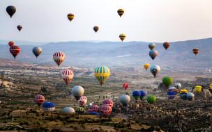панорама, шары, много, полет, горы