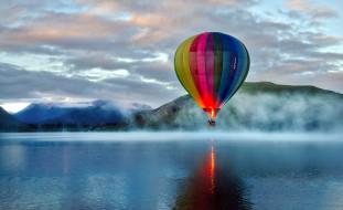 туман, горы, озеро, шар