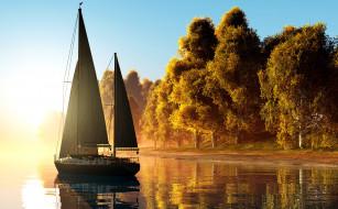 туман, река, осень, деревья, солнце, желтые, яхта, паруса, рассвет, берег, 3D Графика, утро