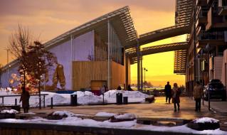 города, осло , норвегия, люди, снег, графитти, здание, закат