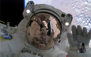 шлем, планета, отражение, космонавт