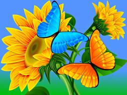 векторная графика, животные , animals, бабочка, фон, цветок