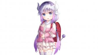 обои для рабочего стола 1920x1080 аниме, miss kobayashi`s dragon maid, фон, взгляд, девушка