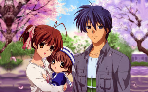 аниме, clannad, ребёнок, парень, семья, девушка, anime, art
