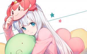 аниме, eromanga-sensei, девушка, взгляд, фон