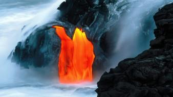 лава, извержение, море, вулкан