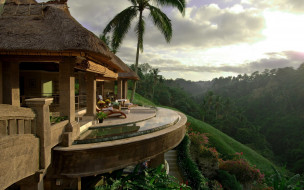 обзор, терраса, дом, джунгли