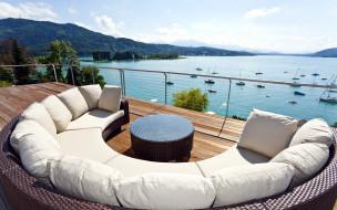 обзор, терраса, яхты, залив, диван