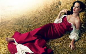 декольте, платье, сено
