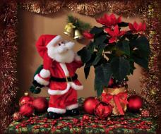 праздничные, дед мороз,  санта клаус, мишура, клаус, пуансеттия, санта, шарики