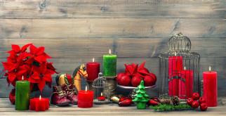 шарики, пуансеттия, свечи