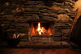 огонь, стена, каменная, камин, дрова