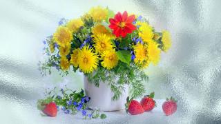 обои для рабочего стола 1920x1080 цветы, букеты,  композиции, одуванчики, незабудки, клубника, георгин